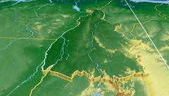 Tocantins - Brazil region extruded. Bumps shaded Stock Footage