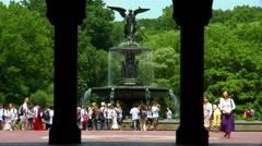Central Park Bathesda Fountain Stock Footage