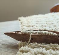 Wooden weaving loom tool - stock photo
