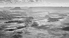 Monochromatic photo of Canyonlands National Park, USA. - stock photo