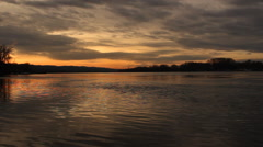 Sunset over Danube river; handheld footage Stock Footage