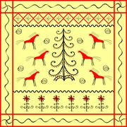 Horse and Christmas tree ornament ethnic background Stock Illustration
