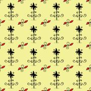 Ethnic ornament seamless retro flowers pattern - stock illustration