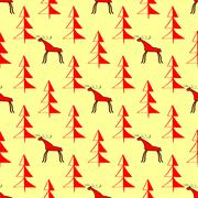 Moose in the woods ethnic ornament seamless pattern - stock illustration