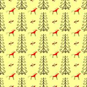 Horses in the forest amongst fir trees seamless pattern Stock Illustration