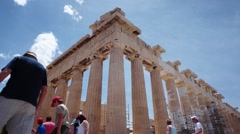 Time-lapse of tourists in front of the acropolis, Greece. Stock Footage