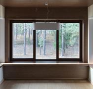 Interior of empty room with windows - stock photo