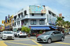 Stock Photo of Penang, Malaysia - NOV 26, 2015: A street scape view of buildings, traffic an