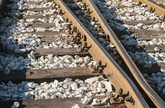 Railroad rails, sleepers and gravel Stock Photos