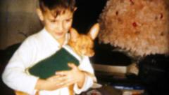 Little Boy Gets New Puppy For Christmas-1962 Vintage 8mm film Stock Footage