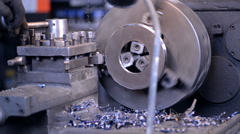 The operator will scale for longitudinal milling machine, cuts the workpiece and Stock Footage