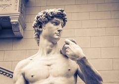 The detail of statue - David by Michelangelo - stock photo