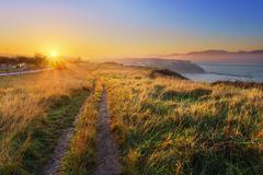 Aixerrota lands in Getxo at sunrise - stock photo