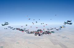 Skydiving making a formation Stock Photos