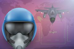 Military Pilot vector background - stock illustration