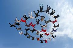 Skydiving big group formation Stock Photos