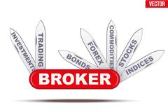 Broker symbol. Penknife with many blades Stock Illustration