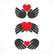 creative shape design with using hand and heart shape concept vector - stock illustration