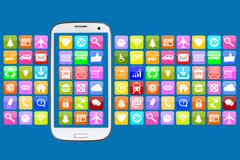 Smart phone with application apps app for internet communication - stock illustration
