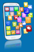 Smart phone or mobile telephone with programs application apps app Stock Illustration