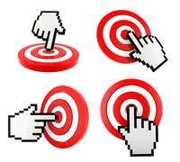 Mouse finger cursor pointing at the target Stock Illustration