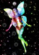 Fairy with soap bubbles Stock Illustration