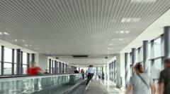 Walkalator in Sheremetyevo aiport terminal D Stock Footage