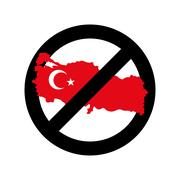 Turkey Is Prohibited. Emblem of sanctions for Turkish goods and products. Pro - stock illustration