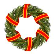 Traditional green wreath for Christmas. Christmas tree branches and red tape. - stock illustration