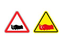 Attention Turkey. Warning sign for Turkish country. Red and yellow road signs Piirros