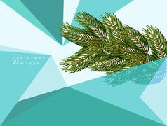Christmas abstract background of geometric shapes. Spruce branch and triangle - stock illustration