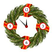 Christmas round frame of branches of Christmas tree. Dial on wreath of spruce Stock Illustration