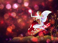 Magic mushroom fairy - stock illustration