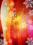 Red Background with Snowflakes Stock Illustration
