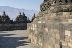 Borobudur temple complex on the island of Java in Indonesia in the morning at Stock Photos