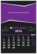 new year calendar November 2016 design - stock illustration