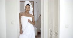 Woman Wearing Bath Towel Stock Footage