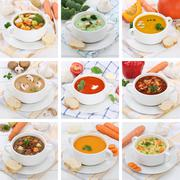 Collection of soups soup tomato vegetable noodle with baguette healthy eating - stock photo