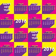 creative retro style new year calender 2016 design - stock illustration