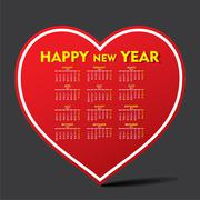 Creative heart shape new year calendar 2016 design Stock Illustration