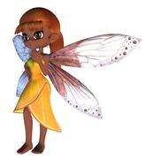 Toon Fairy in Yellow Dress Stock Illustration