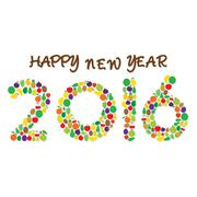 Creative fruit happy new year 2016 greeting or graphics design Stock Illustration