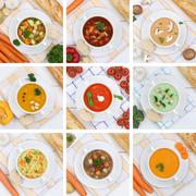 Collection of soups soup tomato vegetable noodle from above healthy eating - stock photo