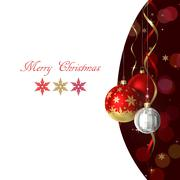 Christmas and new year greeting card with baubles and place for text Stock Illustration