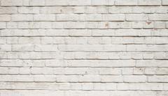 Empty white brick wall background - stock photo