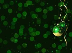 Christmas and new year greeting card with baubles and space for text - stock illustration