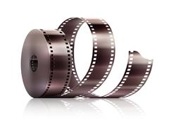 Cinematography movie video film tape isolated - stock illustration
