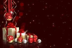 Christmas theme with glass balls and gift boxes and free space for text Stock Illustration
