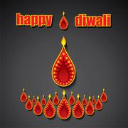 creative happy diwali festival greeting card design - stock illustration