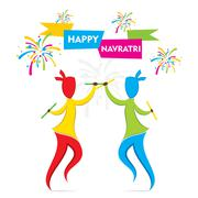 Celebrate navratri festival with dancing garba design vector Piirros